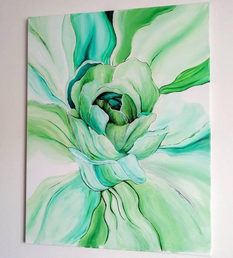maľovaný kvet na plátne